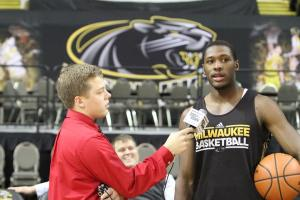 Milwaukee Panthers men's basketball guard Akeem Springs and I at 2014 Panther Media Day.
