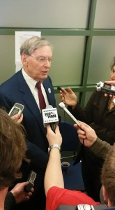 Former MLB Commissioner Bud Selig and I, along with other media members, on Milwaukee Brewers Opening Day (April 6, 2015). at