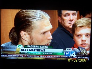 Green Bay Packers linebacker Clay Matthews and I, along with other media members, after their 24-10 victory over St. Louis on Oct. 11, 2015.